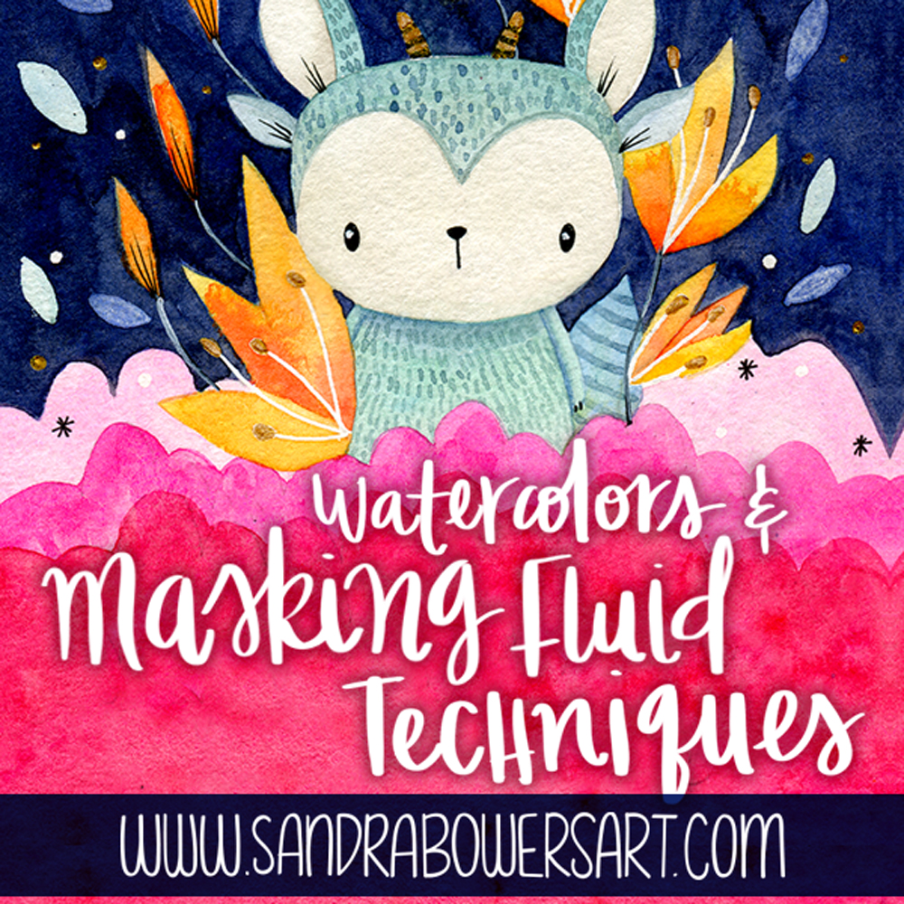 Masking fluid watercolors illustration Sandra Bowers
