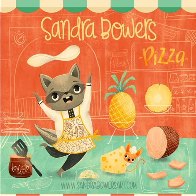 One of the illistrations for my @theydrawandcook Illustrators for Hire badge. Because making pizza is so much fun with Firpo the Raccoon and Lou the little chihuahua. #sandrabowersart #kidslitart #editorialillustration #foodie #pizza #childrensillustration #artlicensing  #raccoon #chihuahua