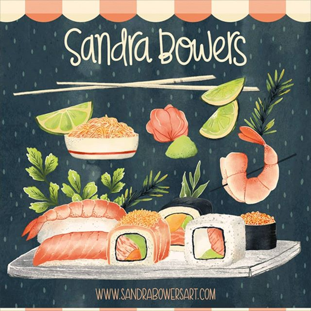 Another one of my illustrations for my @theydrawandcook Illustrators for Hire badge. #sandrabowersart #sushi #foodillustration #editorialillustration #theydrawandcook