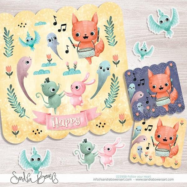 Happy! The little fox and his friends are having a blast at this party. #sandrabowersart #kidslitart #illustration #kidsart #miillustrations #artweinspire #artlicensing #kidseditorial #childrensillustration #ipadproart #procreateart