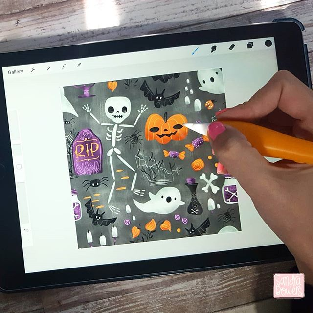 I create most of my icons on #procreate on my #ipadpro My new @skillshare class on my complete process of creating this pattern is coming soon #halloween #surfacedesign #patterndesign #artlicensing #artweinspire #miillustrations #sandrabowersart #onlineclasses