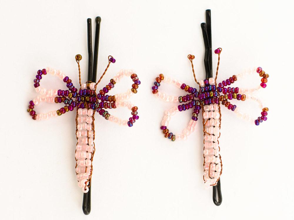 Beaded Dragonfly Hairclips