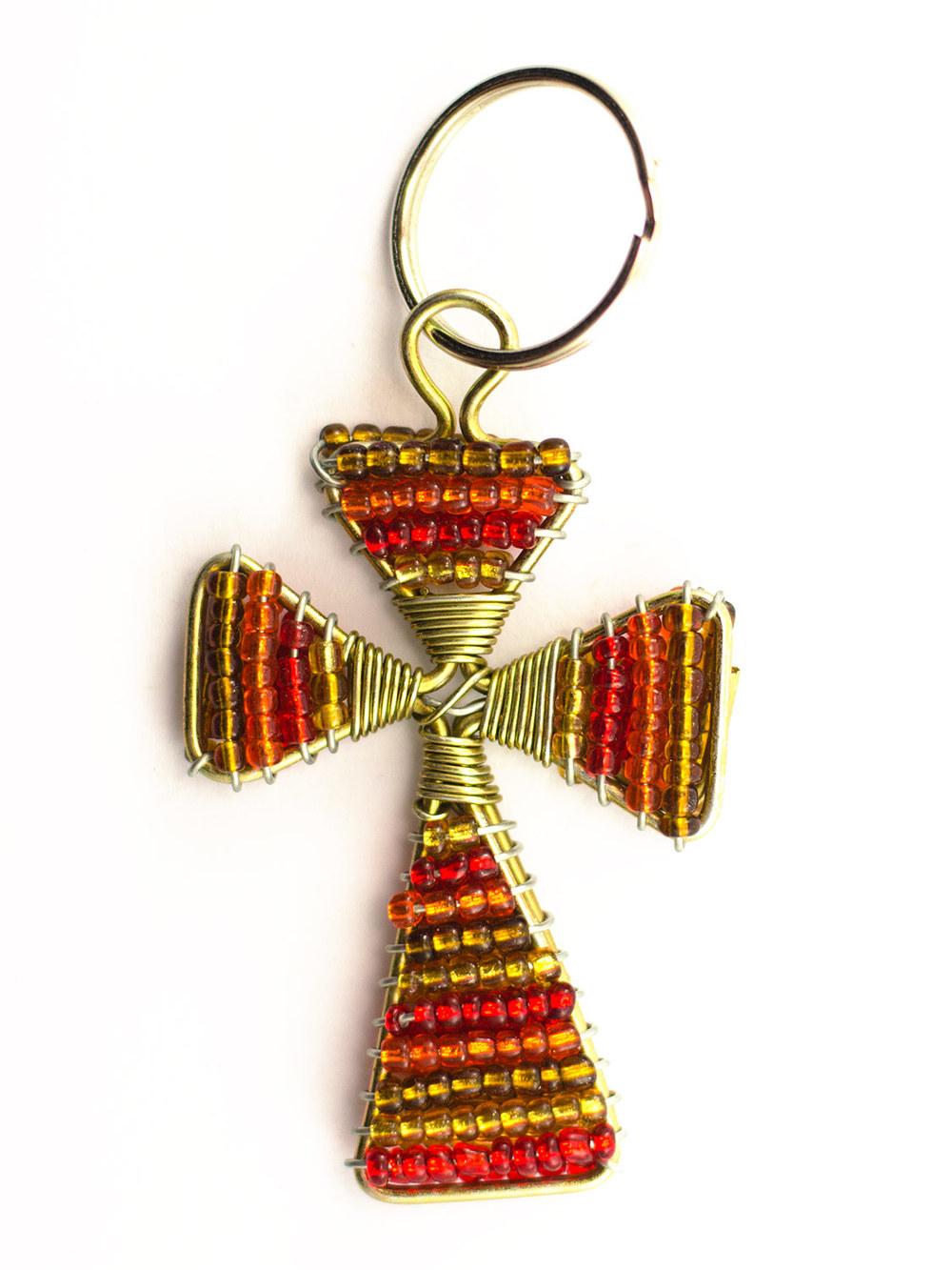 Beaded Cross Keyring