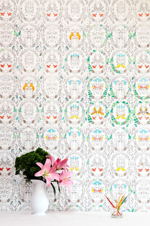 Woodland - Snow Fox Coloring Book Wallpaper — Flat Vernacular