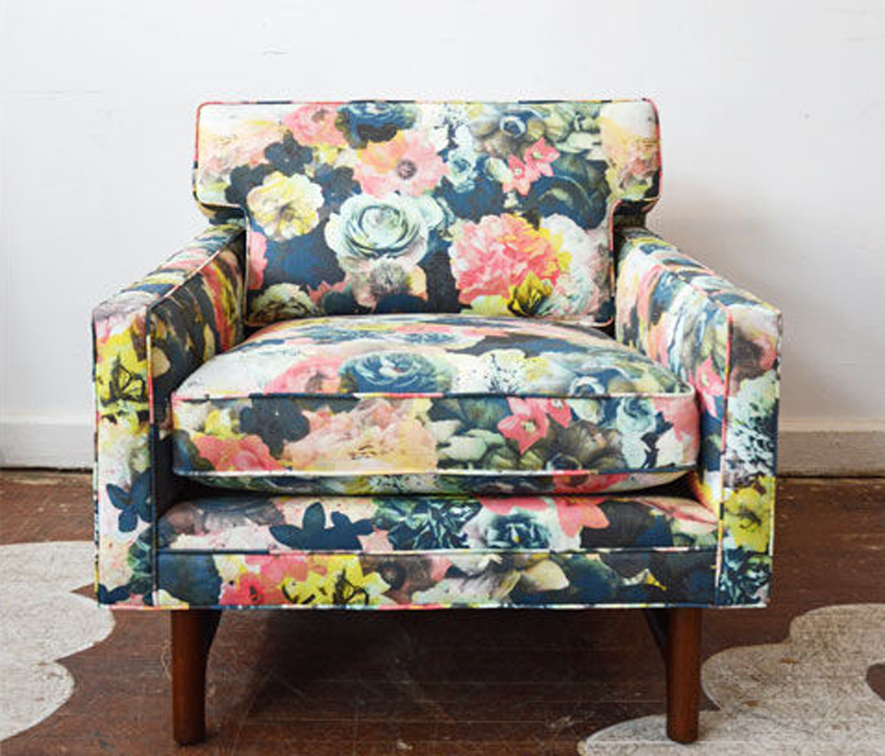 This beautiful chair went to a lucky client. Using more fresh, contemporary, and interesting fabrics on an older chair is a really unique and easy way to update your space with an infusion of color and life.