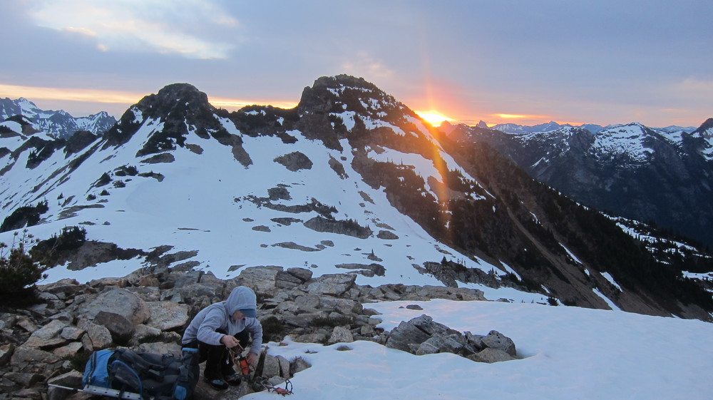 Getting ready to depart our high camp at sunrise.