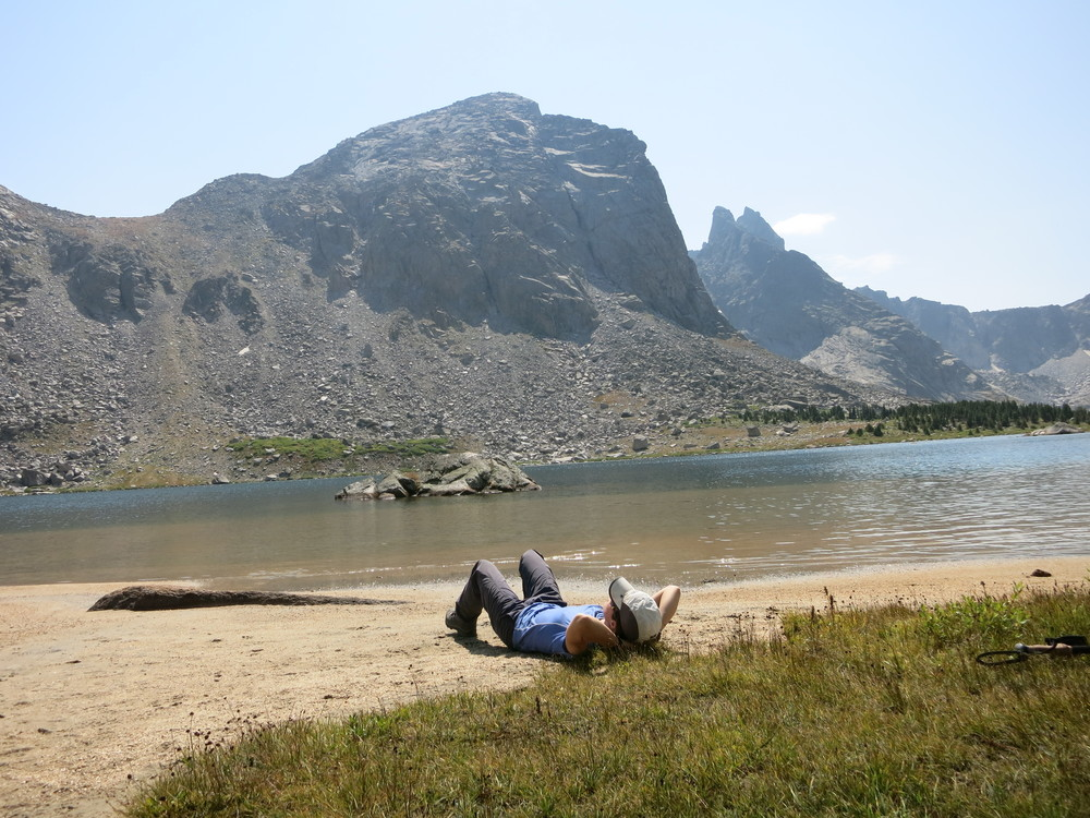 See how relaxed I am (I won't mention the 20 miles of hiking prior to this photo being taken...)?