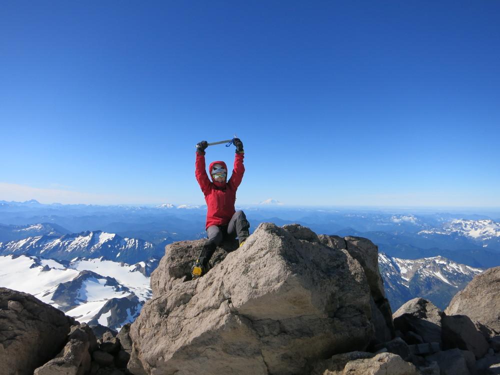 Me, circa 2014 on the summit of Glacier Peak, Washington State.