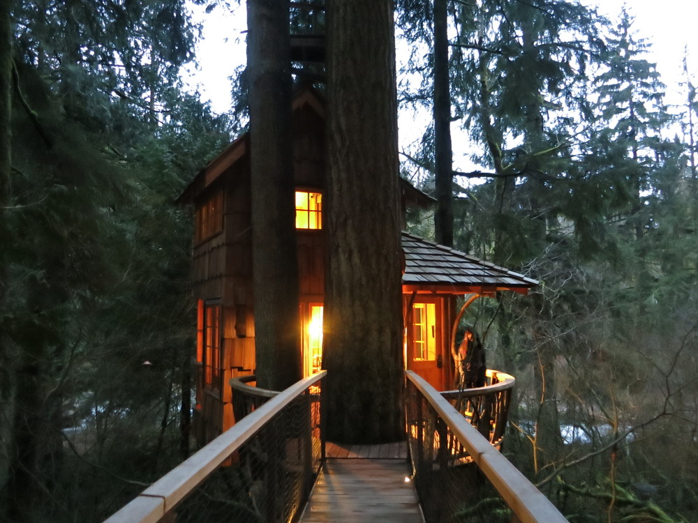 "We stayed in this beautiful treehouse called ""Burl"".  I packed salads and dinner in a cooler and we used the facility's microwave to heat it up so we didn't have to leave the treehouse (when you pay $275 to stay in a treehouse, you actually want to be there)."