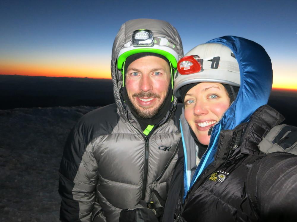 Summit of Mt. Rainier just before sunrise.