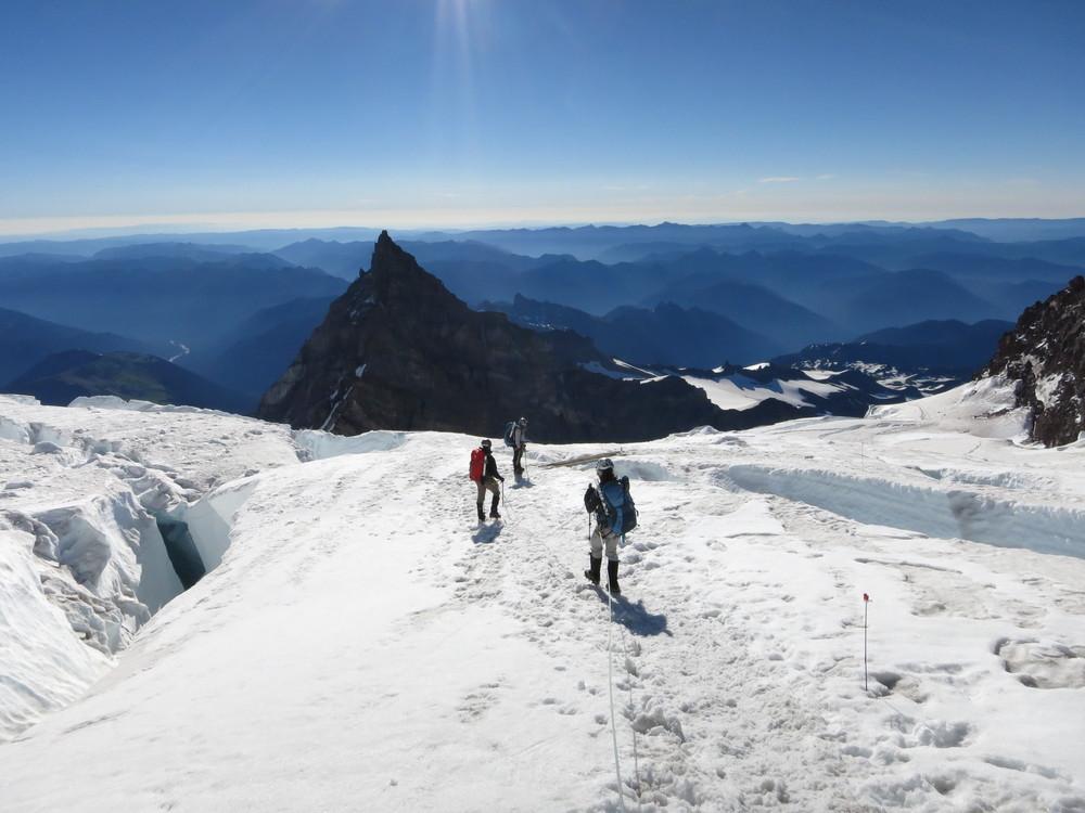 Navigating crevasses on the Ingraham Glacier, Mt. Rainier.