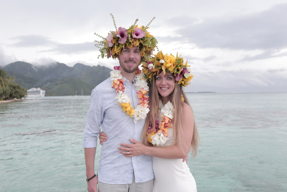 After our wedding on the beach in Moorea.