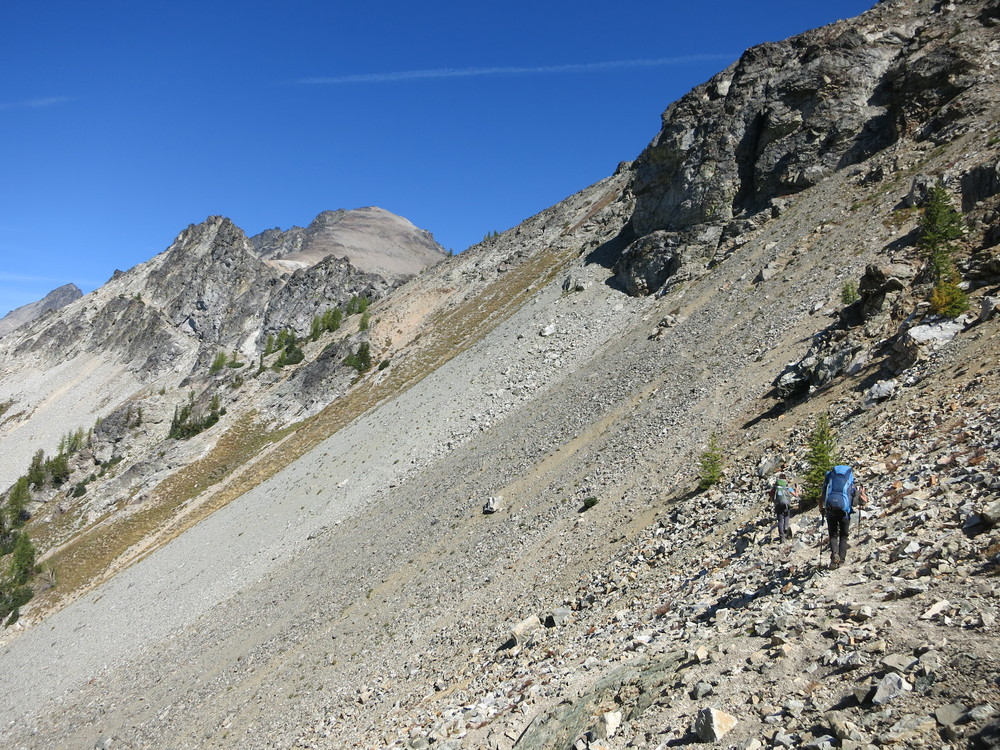About to cross a nasty scree section on the Carne Mountain High Route.