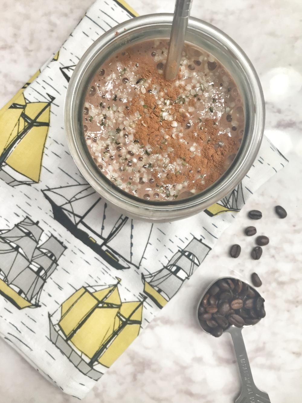 Chocolate espresso grass-fed whey shake with hemp seeds. Nope, still not suffering.