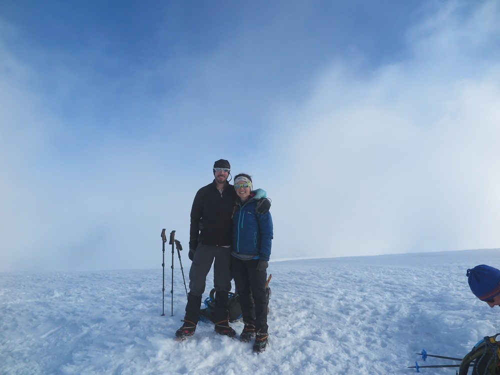 Our second time on the summit of Mt. Adams together, and some guy's head.