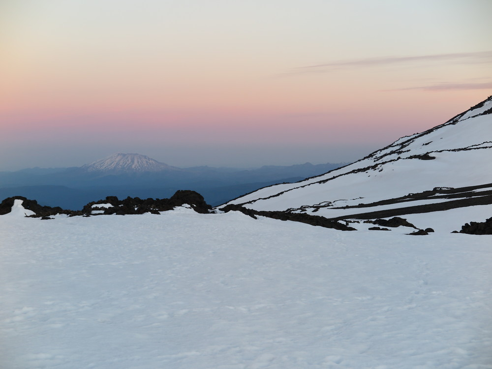 Mt. Saint Helens from the slopes of Mt. Adams at sunrise.