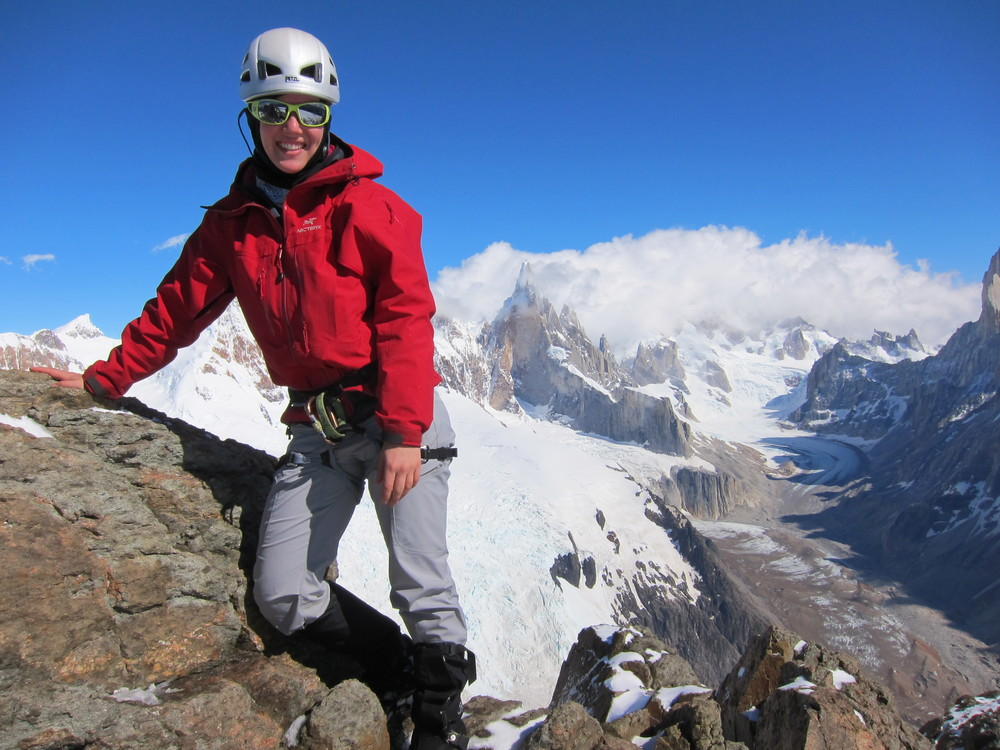 Obnoxious glasses - check. Pants - check. Necessary gaiters - check. Jacket that clashes with surrounding landscape for contrast - check. Smile bigger than Cerro Torre - check. Just below the summit of Cerro Solo, El Chalten, Argentina.
