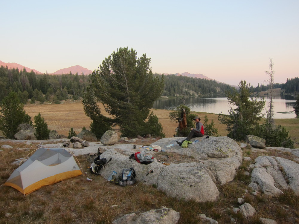 Oh look, it's a yard sale!  No, wait, that's just our campsite at Marm's Lake.