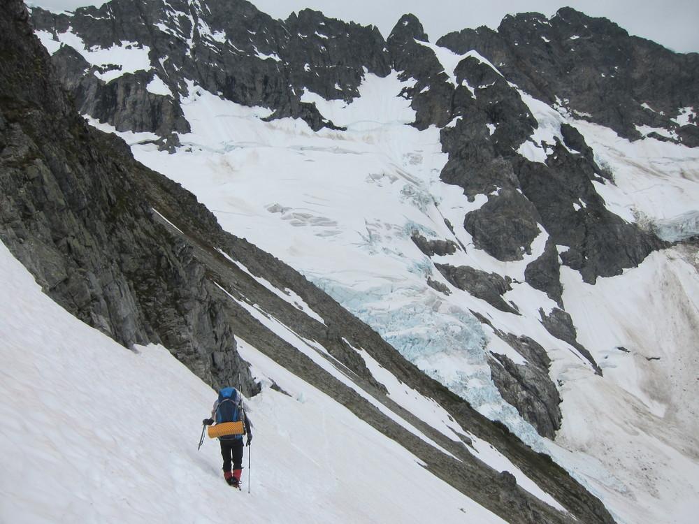 Traversing towards the Middle Cascade Glacier.