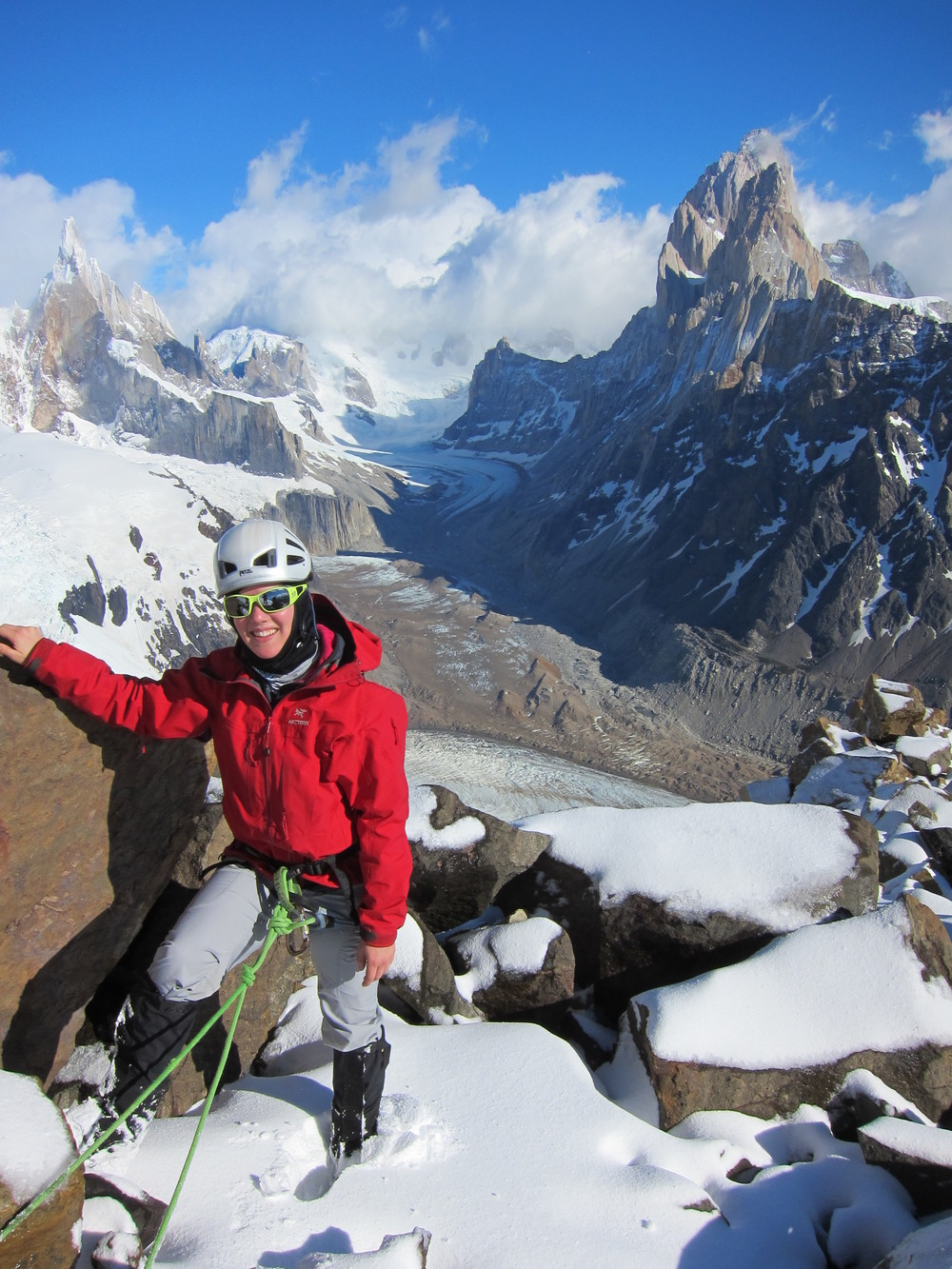En route the summit of Cerro Solo with Cerro Torre and Fitz Roy in the background.