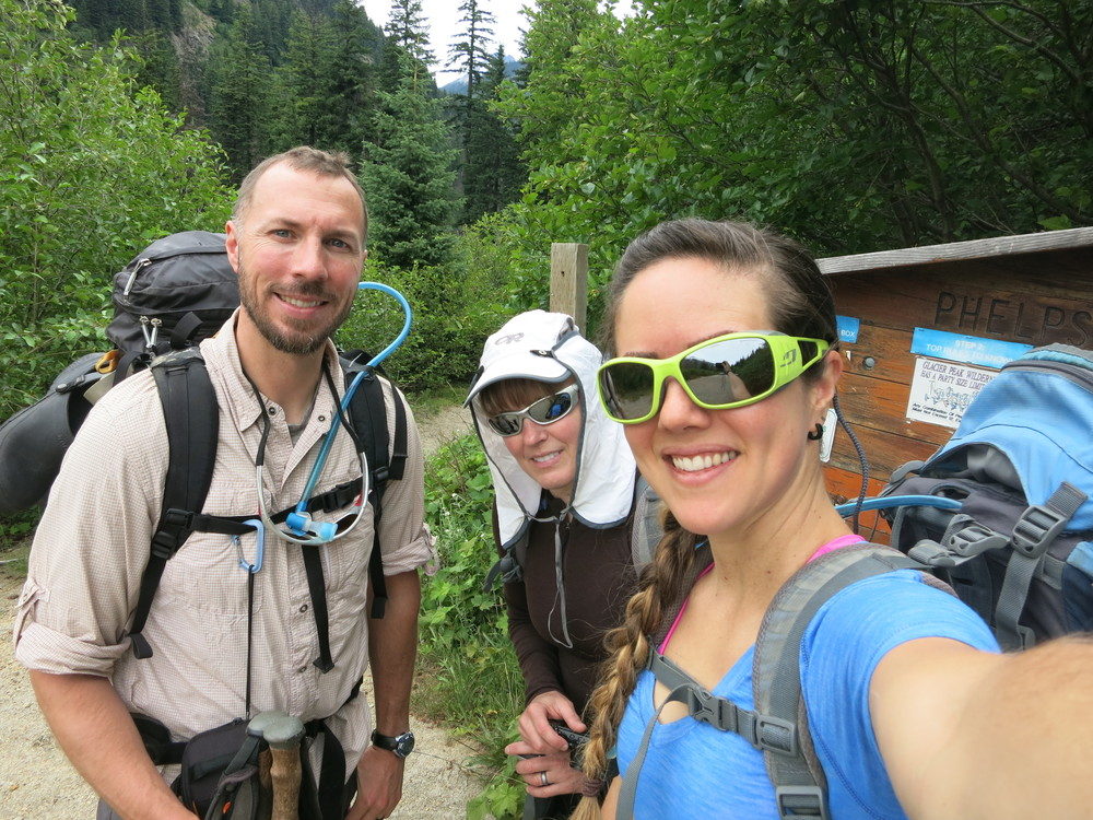 Obnoxious sunglasses and all, we head off for our adventure from Phelps Creek Trailhead.