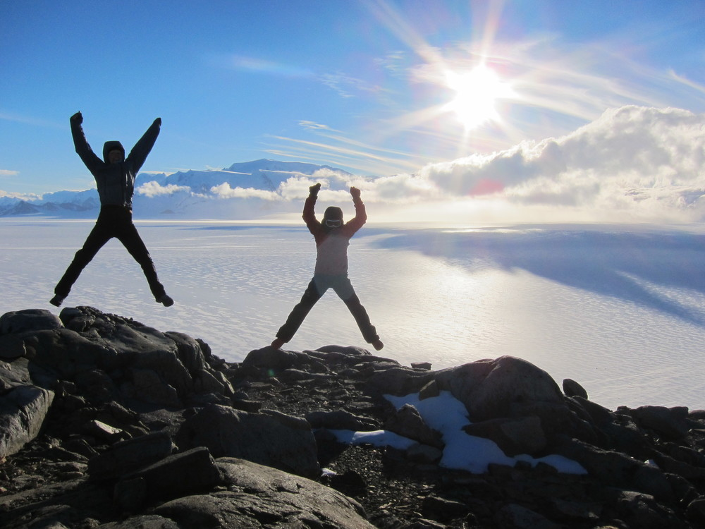 Jumping for joy on the Patagonian Ice Cap.