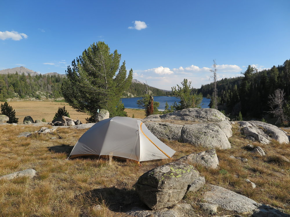 Home sweet campsite at Marm's Lake.