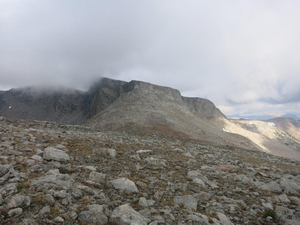 Europe Peak, slightly enshrouded in the fog.
