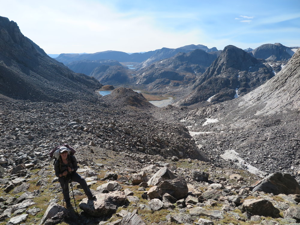 A tame section after a very messy moraine, en route Blaurock Pass.