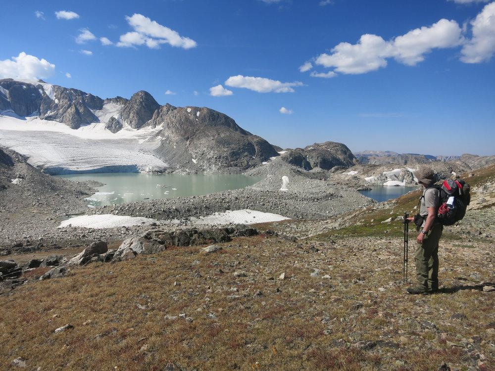 Leaving Iceberg Lake Pass ... Sourdough Glacier in the distance.