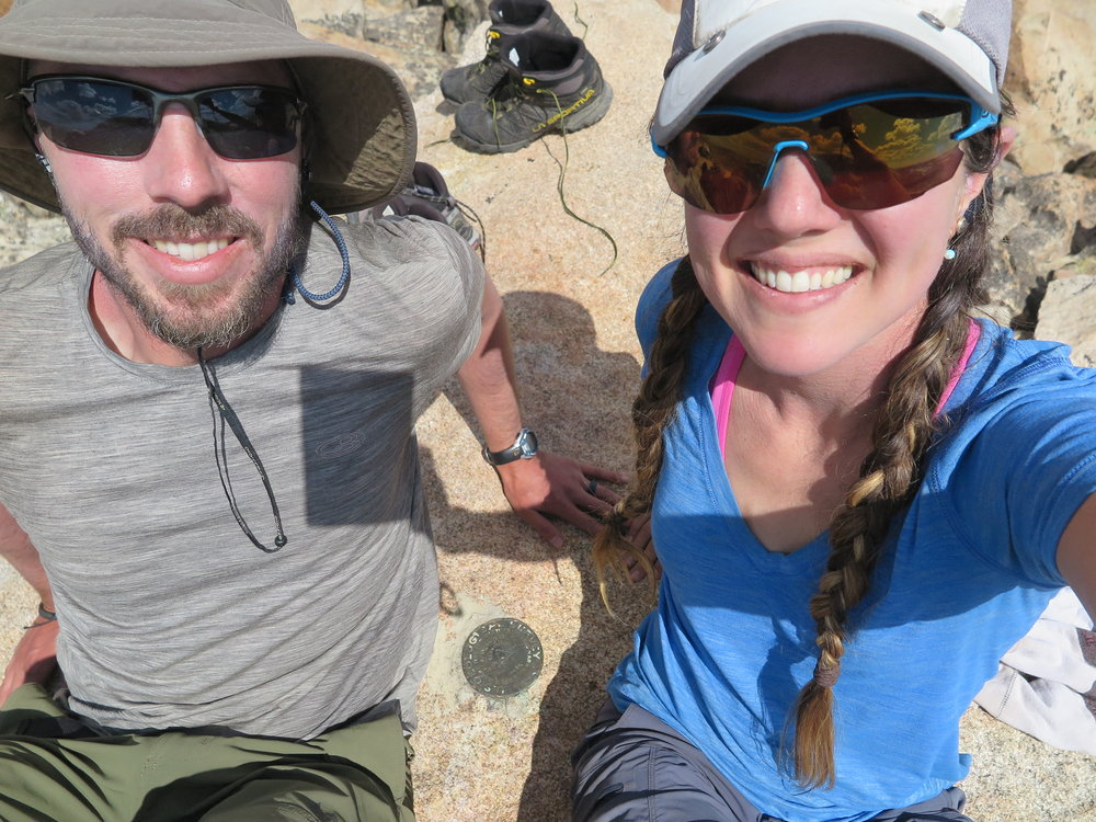 Two happy hikers on the summit of Downs Mountain.