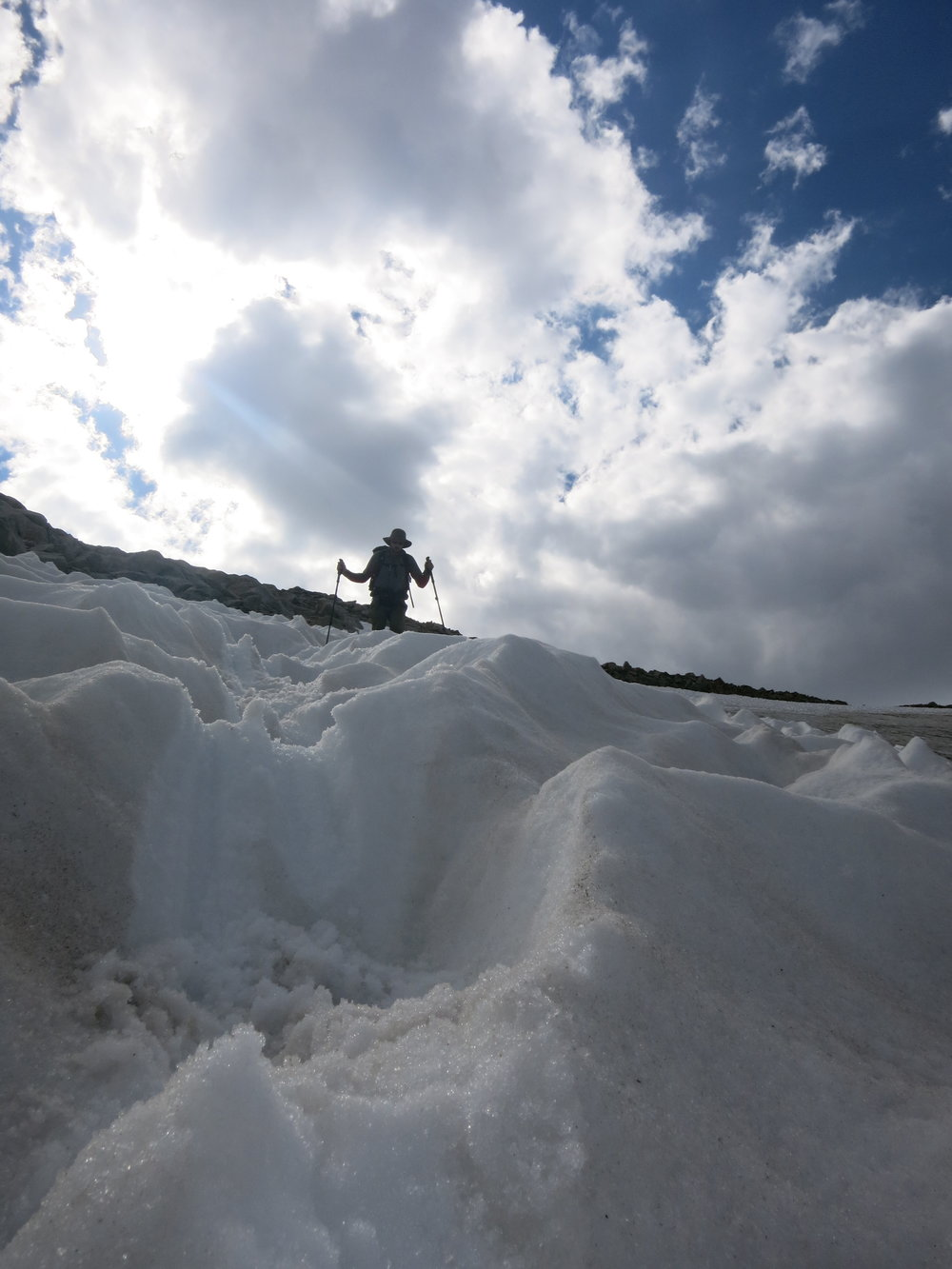 Descending the snowfield.