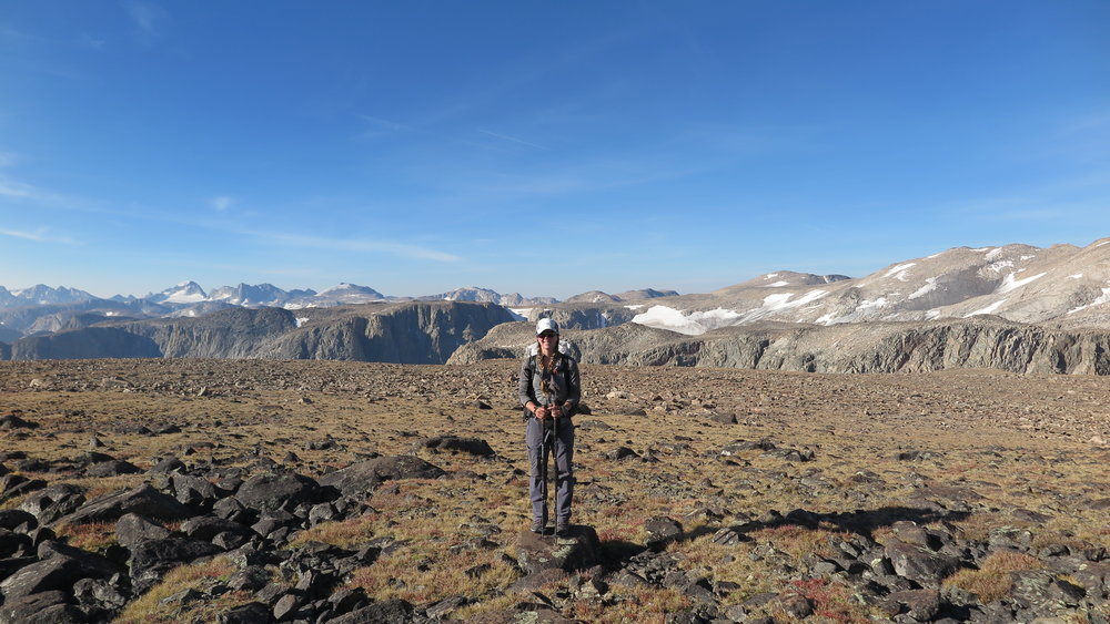 At the start of Goat Flats, with the Wind River Range behind me. Gannett Peak is visible off to the left in the distance (we crossed that glacier below it!).