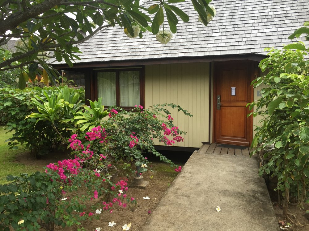 Our beautiful little garden bungalow at the Moorea Hilton.
