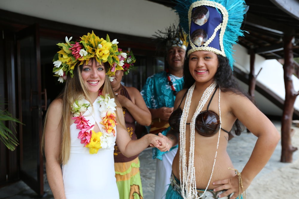 Aaron really wanted meto wear a coconut bikini for our wedding, but luckily our Tahitian princess got me off the hook.