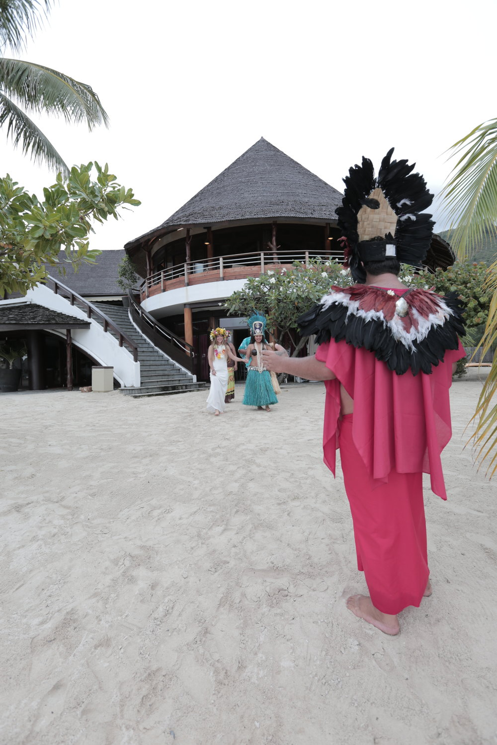 The Tahitian priest welcomes me to the beach.