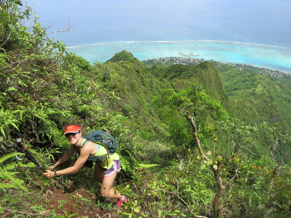Yes, it was that steep. And, yes, we did bring our hiking poles to Tahiti.