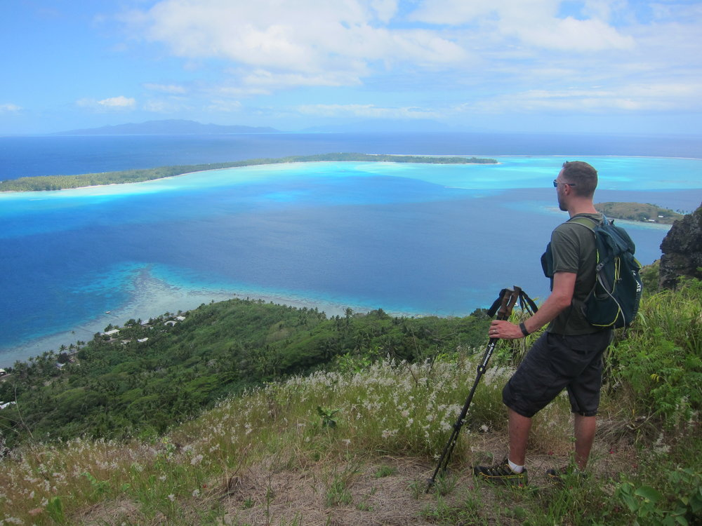 Looking out over the lagoon and the small motus surrounding the main island of Bora Bora.