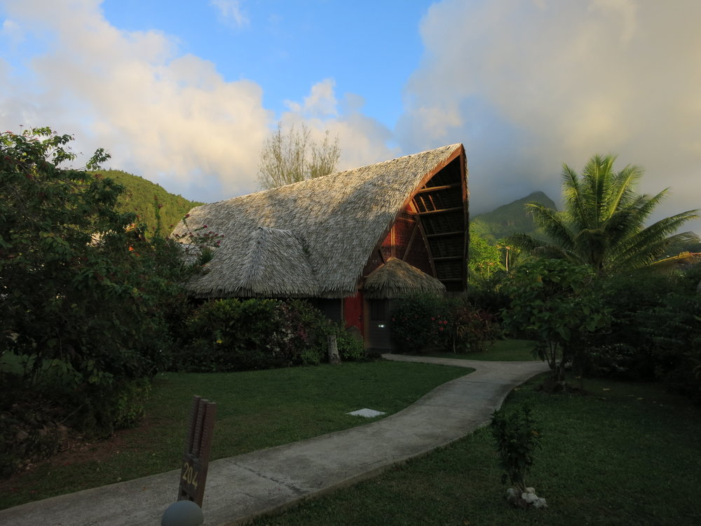 Our standalone thatched hotel room at the Maitai Lapita Village.  The rooms in the hotel are designed after traditional Polynesian Canoe houses.