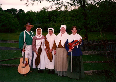"There I am on the far right (with the violin) at my first National Park Service volunteer ""gig"" - doing living history at Hopewell Furnace National Historic Site."