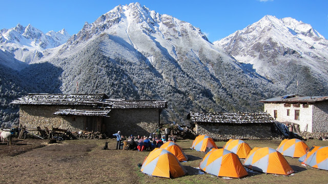 Our campsite in the village of Laya.