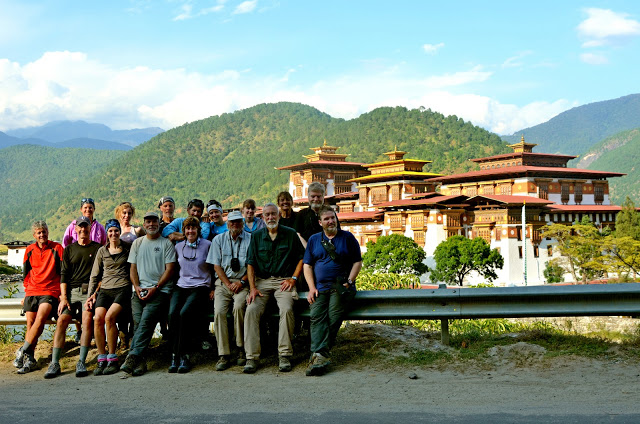 Our team, in front of the Punakha Dzong.