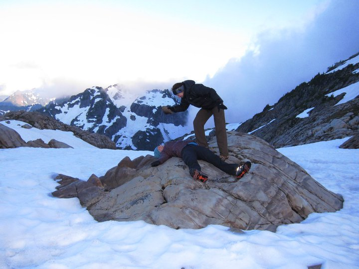 Her 2nd backpacking trip ever to Gothic Basin was also her first time camping on snow.  And my first time being pummelled with a rock by my mother.  (no daughters were hurt in the taking of this photo)