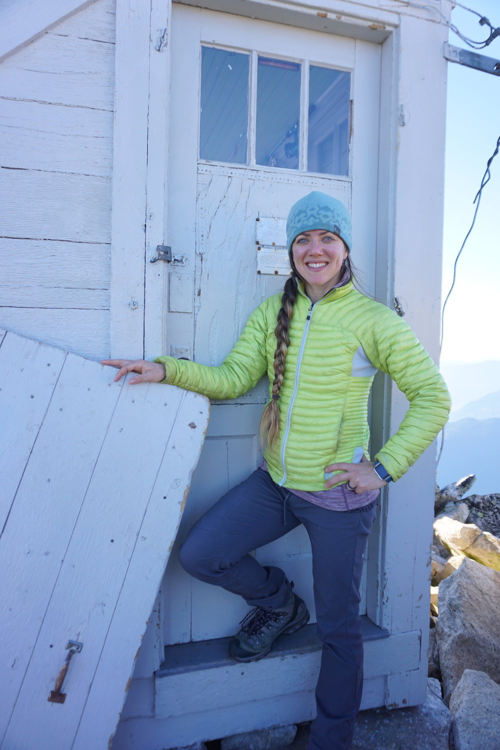 Me, at a fire lookout (my husband and I spent the night in the lookout!). This photo has nothing to do with the story, it just makes me happy.
