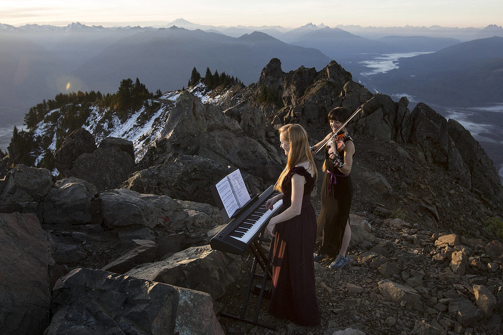 Musical mountaineering with Rose Freeman on piano (photo by Ian Terry, Everett Herald)