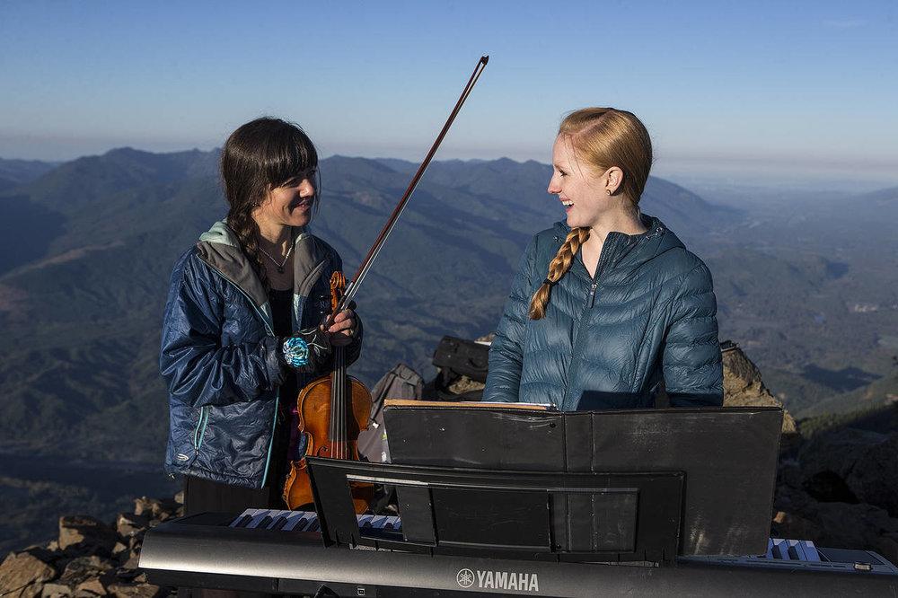 Rose Freeman (piano) and I. Photo by Ian Terry, The Everett Herald.