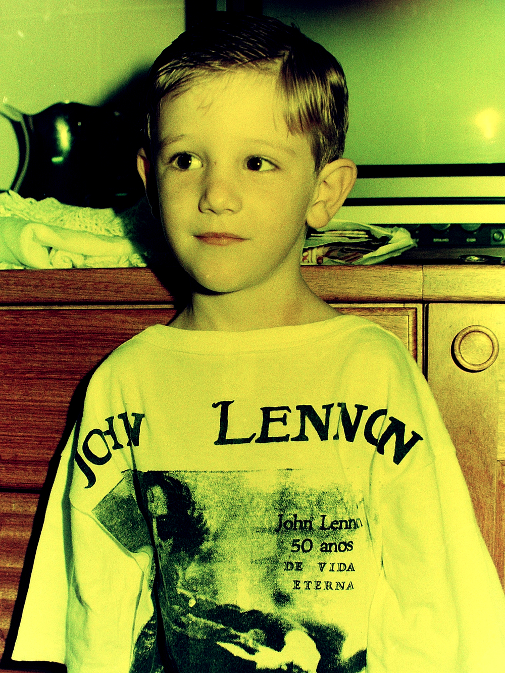 with his favorite t-shirt at 6 years old