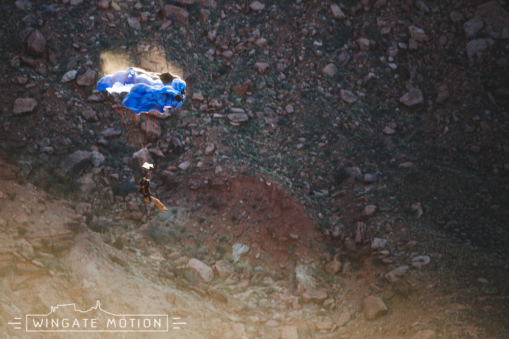 BASE jumper Ian Mitchard exits quite possibly one of the worlds most interesting BASE exits.  Photo: Scott Rogers