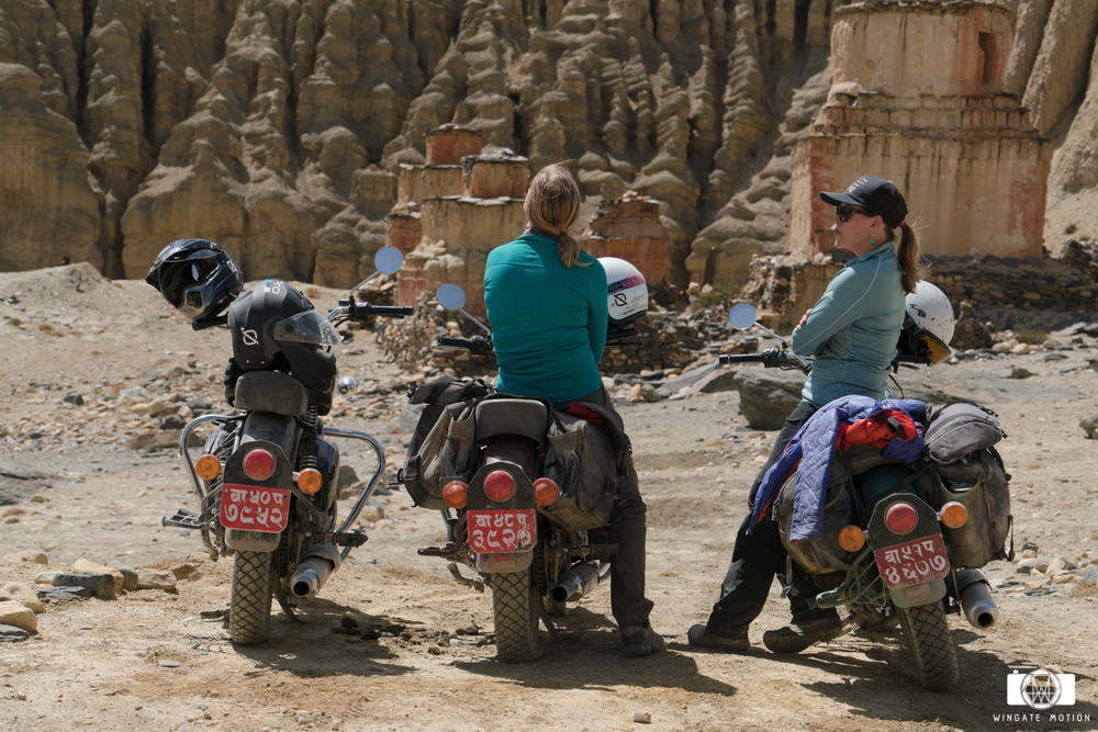 Cherise Tuttle and Isabella Messenger taking a break from the bone crushing roads of Northern Nepal. Photo: Cody Tuttle