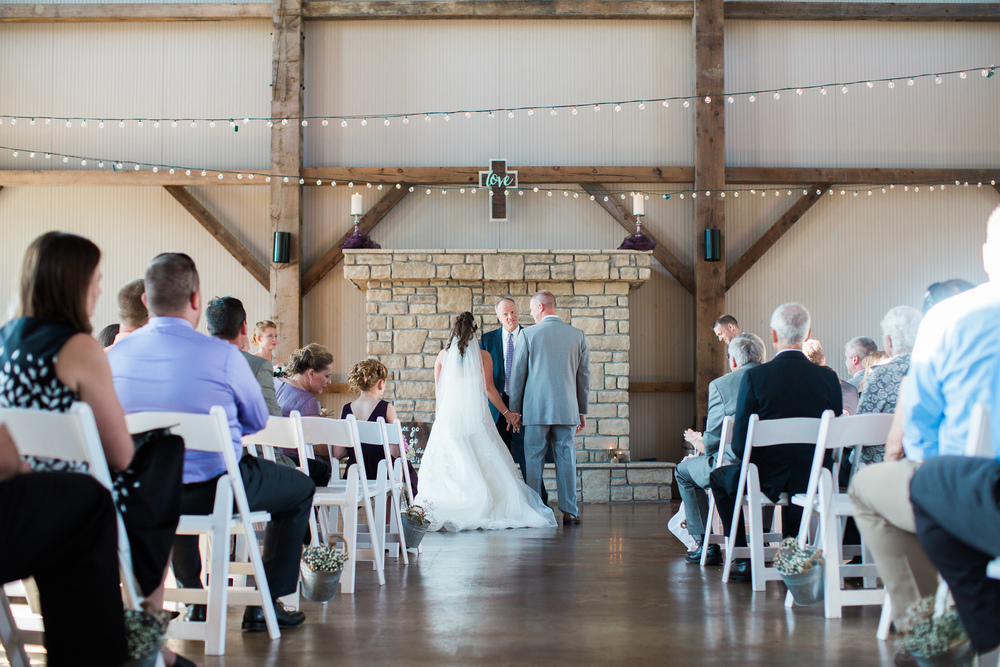 wedding ceremony at muhlhauser barn in west chester ohio